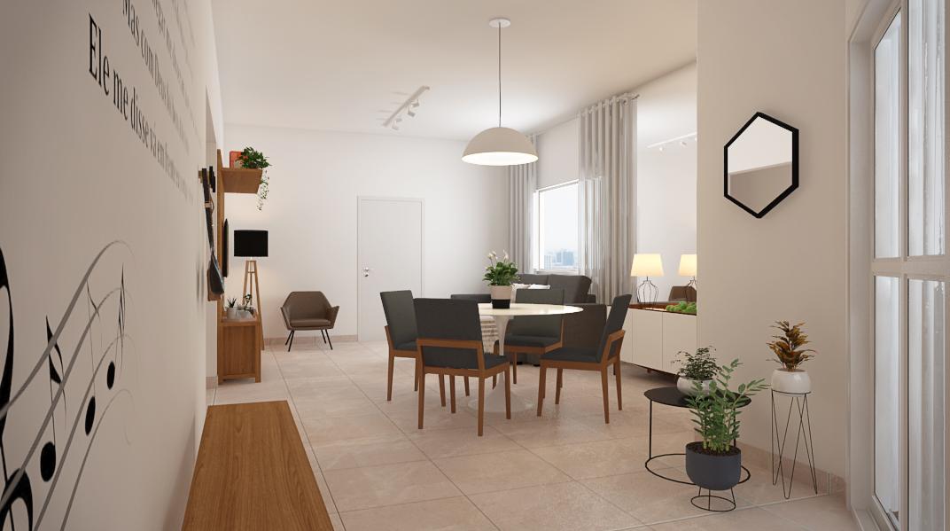 Sala Integrada estilo Minimalista Rústico